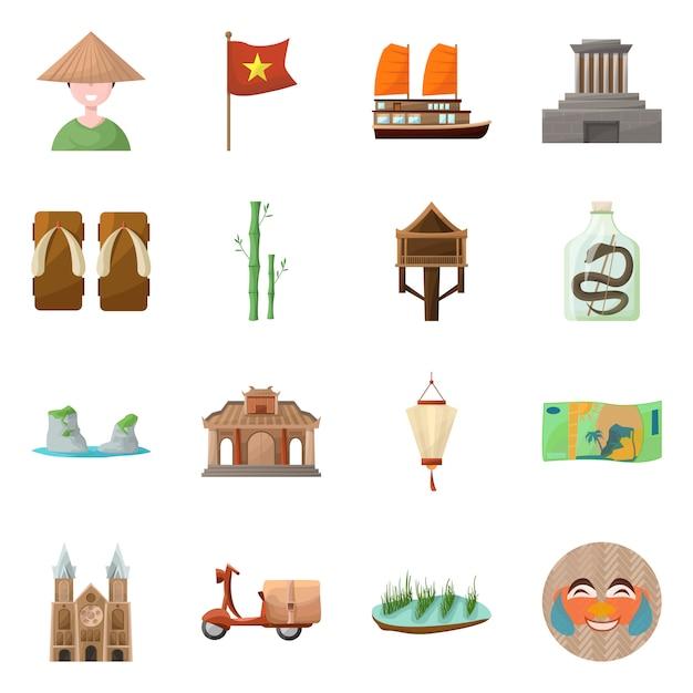 Elementos de desenho animado do país vietnã. definir o marco de elementos da cultura do país do vietnã. Vetor Premium