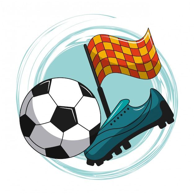 Elementos de desenhos animados de futebol Vetor Premium
