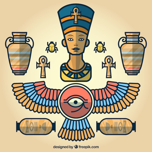 Elementos de desenhos animados egípcios  Baixar vetores ...