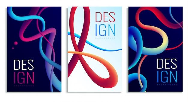 Elementos de design abstrato holográfico de néon fluido Vetor grátis