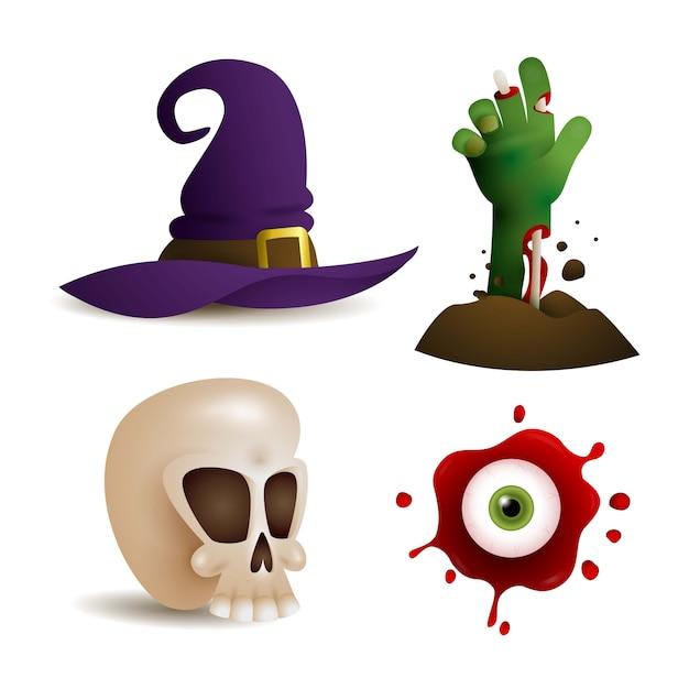 Elementos de design assustador para jogo Vetor grátis