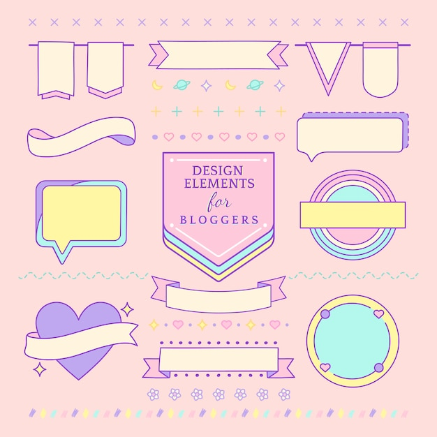 Elementos de design bonito e feminino para vetor de blogueiros Vetor grátis
