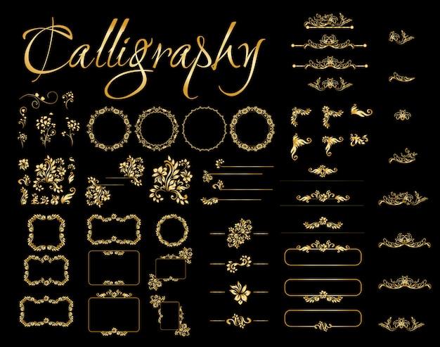 Elementos de design caligráfico dourado sobre fundo preto. Vetor grátis
