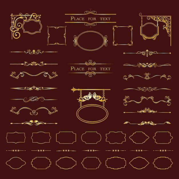 Elementos de design caligráfico. Vetor Premium