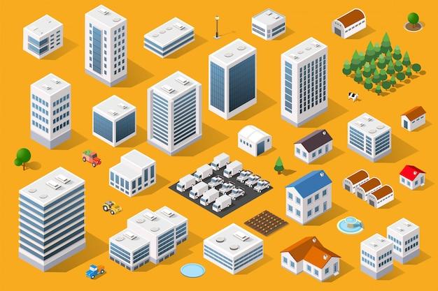 Elementos de design da paisagem urbana Vetor Premium