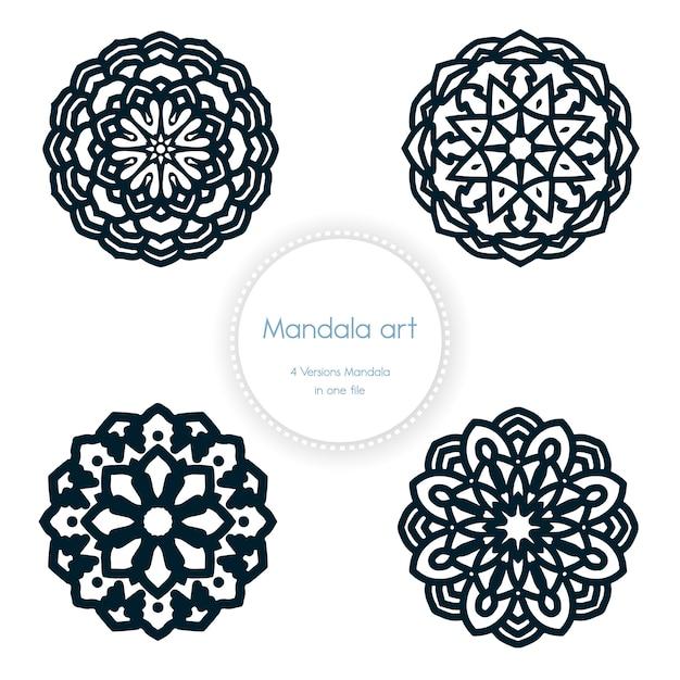 Elementos de design de arte mandala étnica Vetor Premium