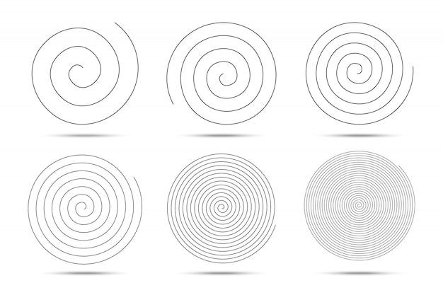 Elementos de design de círculos em espiral. Vetor Premium