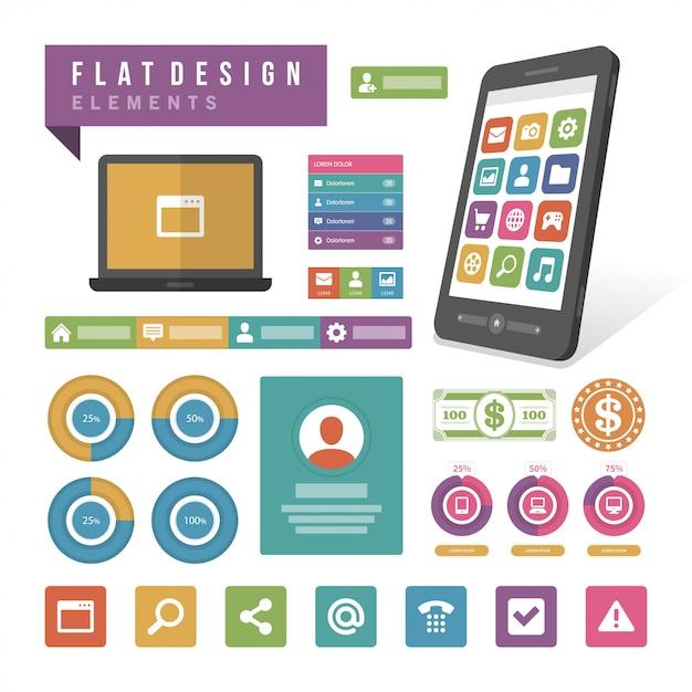 Elementos de design de infográfico de ilustração vetorial plana Vetor Premium