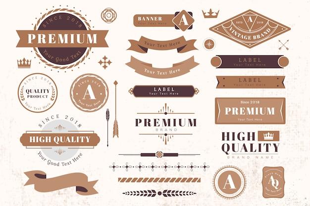Elementos de design de logotipo e banner Vetor grátis