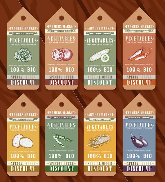 Elementos de design de rótulos de alimentos orgânicos de legumes Vetor Premium