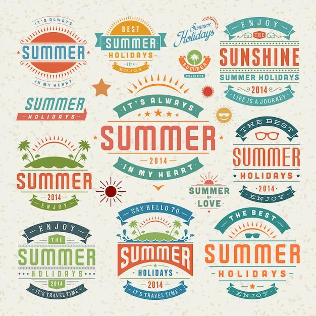 Elementos de design de verão e símbolos rótulos tipográficos e emblemas Vetor Premium