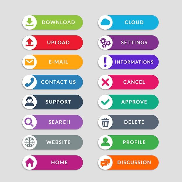 Elementos de design do botão web plana. design simples de botões da interface do usuário da web Vetor Premium