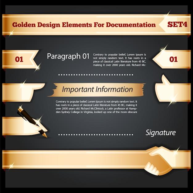 Elementos de design dourado para conjunto de documentação Vetor Premium