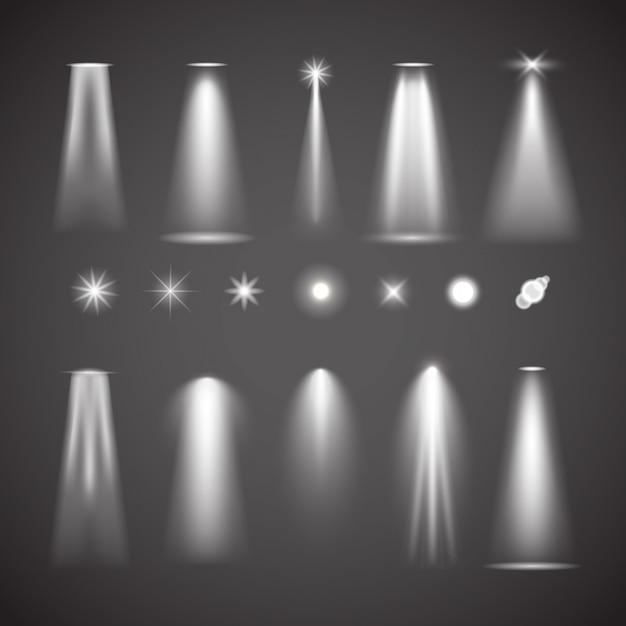 Elementos de efeito de luz diferentes. coleção de vetores de luzes brilhantes Vetor Premium