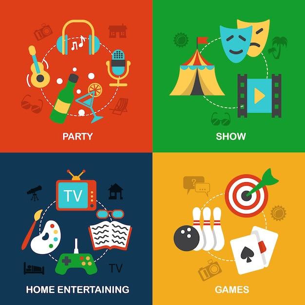 Elementos de entretenimentos planas Vetor grátis