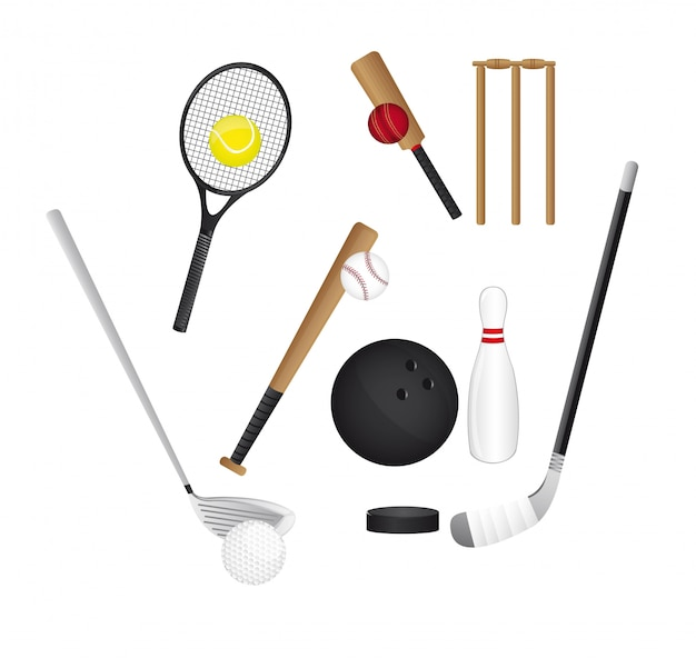 Elementos de esportes isolados sobre o vetor de fundo branco Vetor Premium