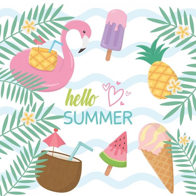 Elementos de férias de verão Vetor Premium