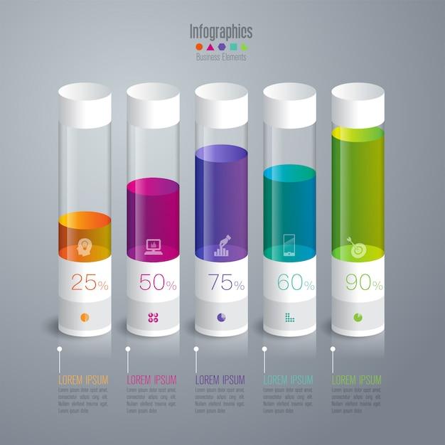 Elementos de gráfico de barras coloridas para a apresentação Vetor Premium
