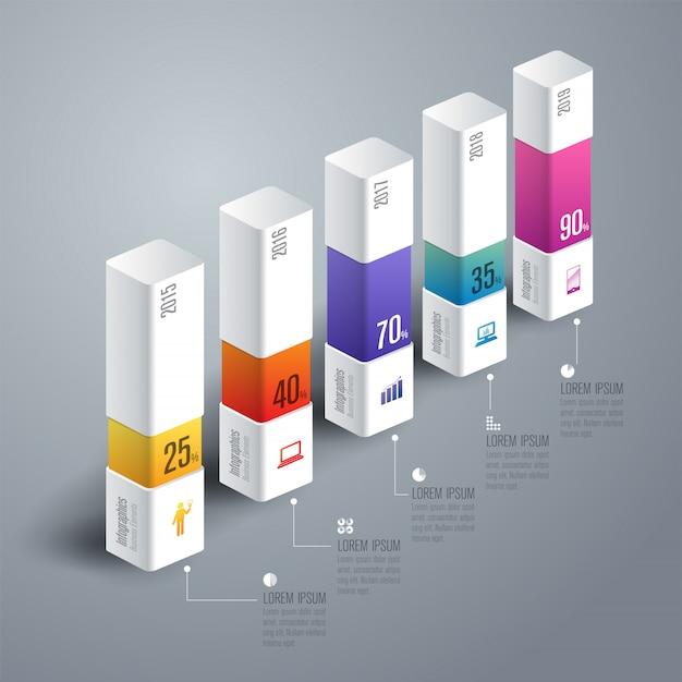 Elementos de gráfico de barras coloridas Vetor Premium