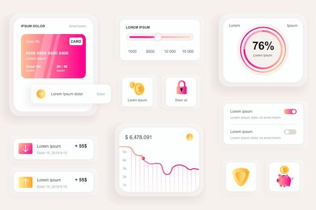 Elementos de gui para ui de aplicativo móvel bancário, kit de ferramentas ux Vetor Premium