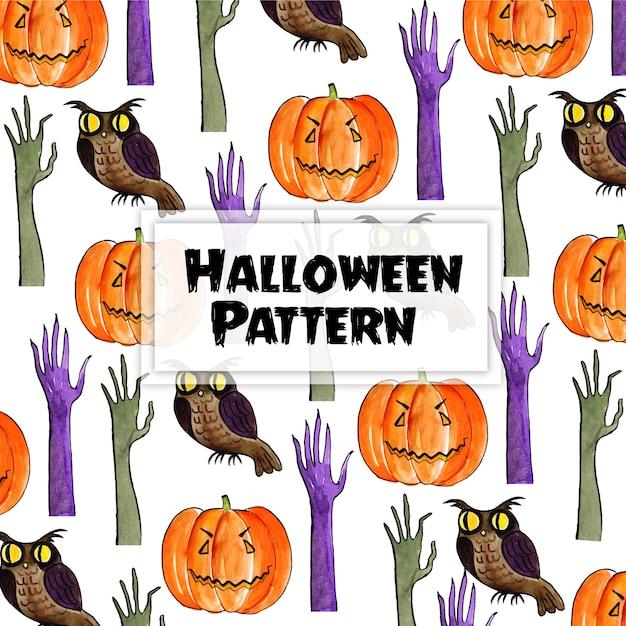 Elementos de halloween aquarela fundo Vetor Premium