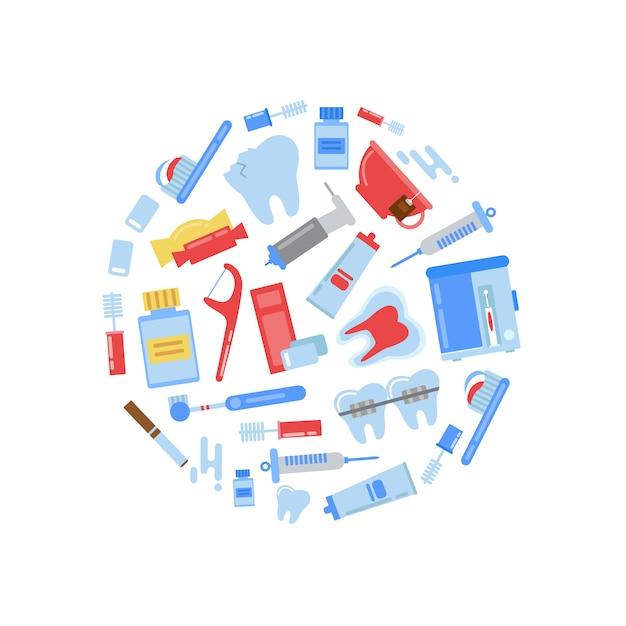 Elementos de higiene dos dentes Vetor Premium