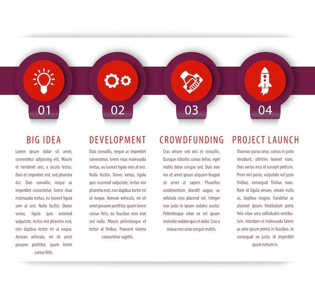 Elementos de infografia de inicialização, 1, 2, 3, 4 etapas, linha do tempo, ilustração Vetor Premium