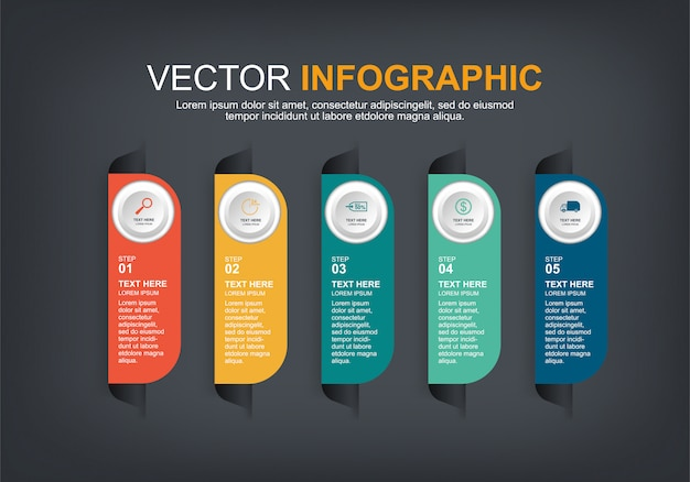 Elementos de infográfico com 5 opções Vetor Premium