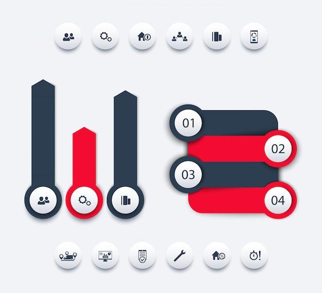 Elementos de infográfico de análise de negócios, design de relatório de negócios, linha do tempo, rótulos de passos, 1 2 3 4, setas de crescimento, ícones redondos, ilustração Vetor Premium