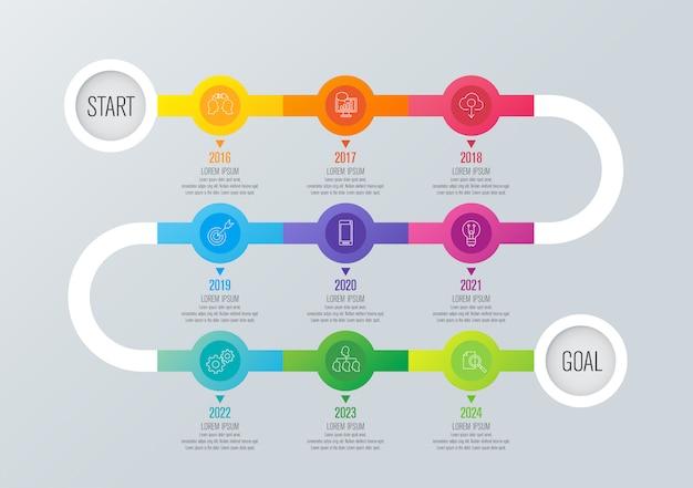 Elementos de infográfico de cronograma de planejador de ano Vetor Premium