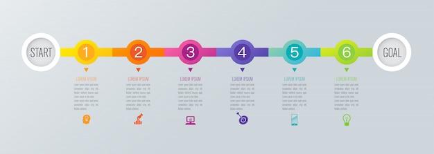Elementos de infográfico de cronograma Vetor Premium