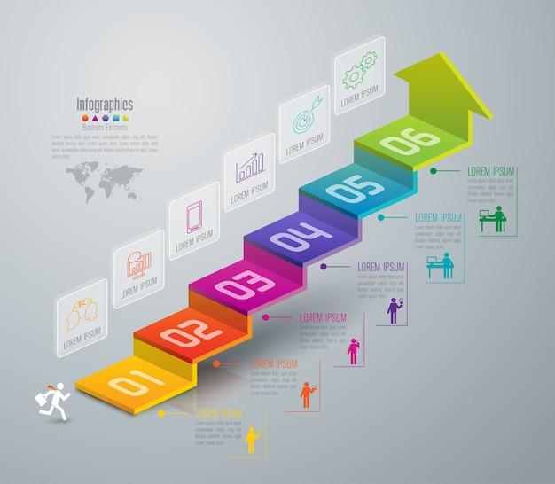 Elementos de infográfico de degrau de negócios de 6 etapas Vetor Premium
