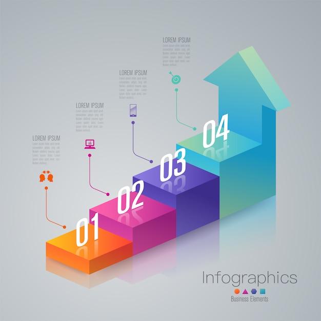 Elementos de infográfico de escada de negócios de 4 etapas Vetor Premium