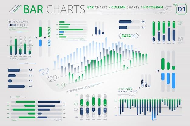 Elementos de infográfico de gráficos de barras, gráficos de colunas e histogramas Vetor Premium
