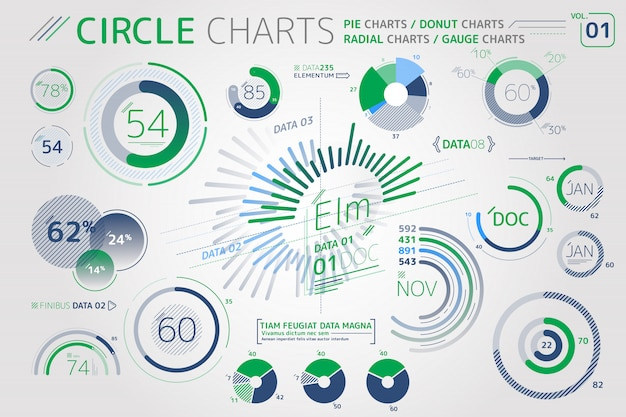 Elementos de infográfico de gráficos de círculo, gráficos de pizza, gráficos radiais e gráficos de medidor Vetor Premium
