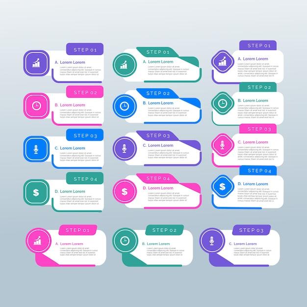 Elementos de infográfico de modelo de design plano Vetor grátis