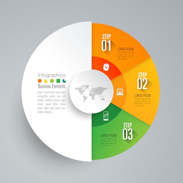 Elementos de infográfico de negócios de 3 etapas para a apresentação Vetor Premium