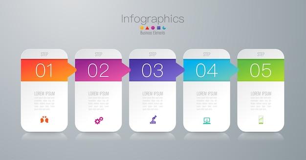 Elementos de infográfico de negócios de 5 etapas para a apresentação Vetor Premium