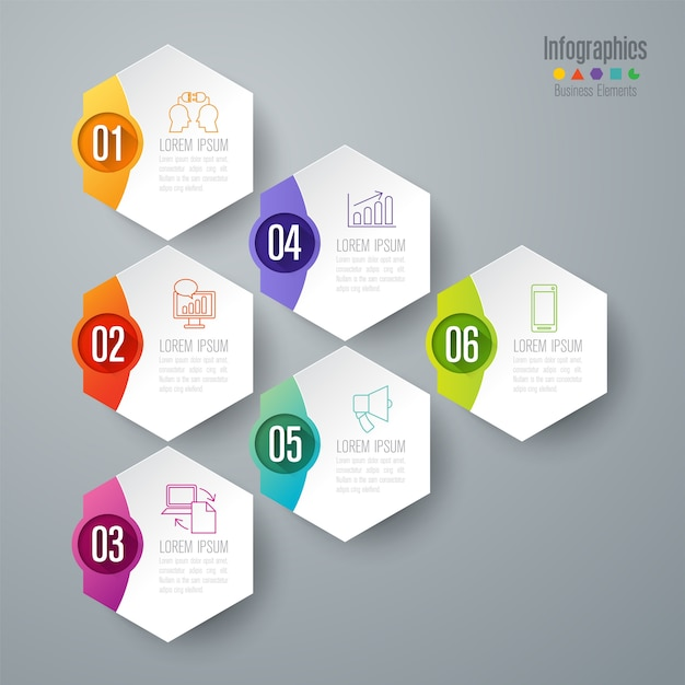 Elementos de infográfico de negócios de 6 etapas para a apresentação Vetor Premium