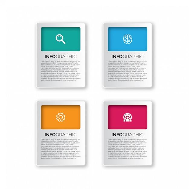 Elementos de infográfico de papel 3d abstrato de vetor Vetor Premium