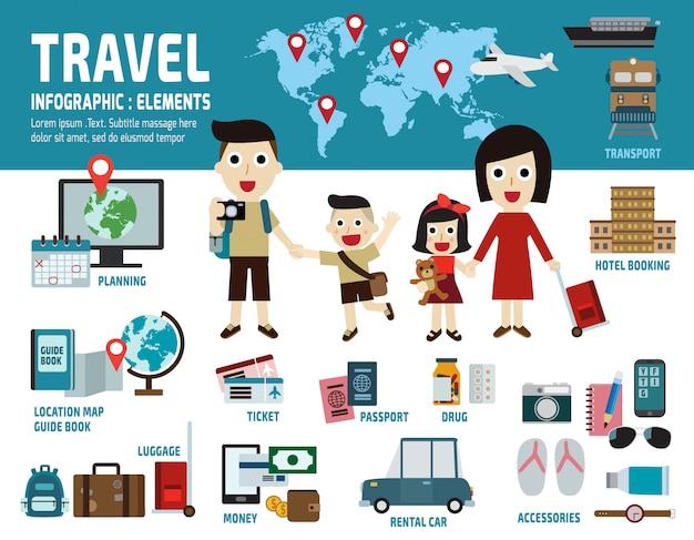 Elementos de infográfico de viagens Vetor Premium