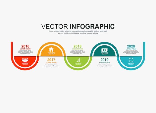 Elementos de infográfico design com 5 opções Vetor Premium