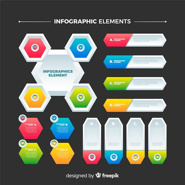 Elementos de infográfico gradiente Vetor grátis