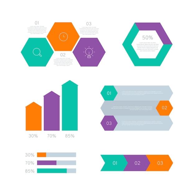 Elementos de infográfico gráfico estatístico em design plano Vetor grátis