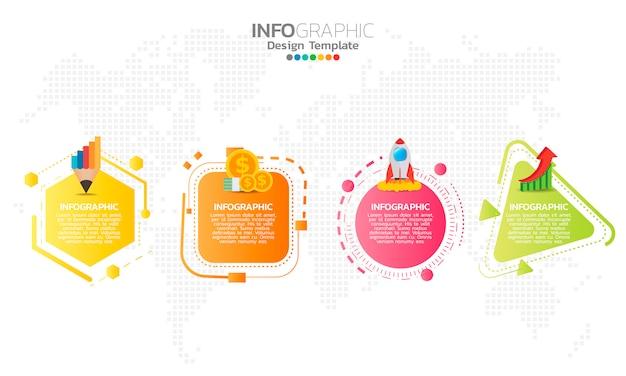 Elementos de infográfico para conteúdo. Vetor Premium
