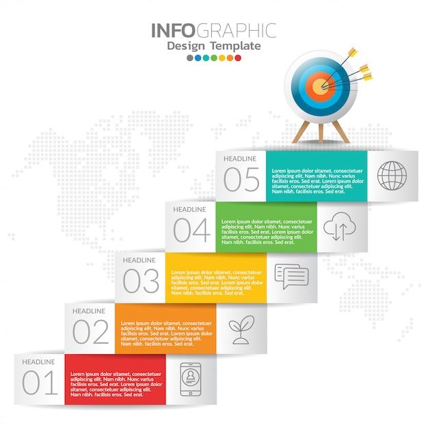 Elementos de infográfico para o conteúdo, linha do tempo, fluxo de trabalho, gráfico. Vetor Premium