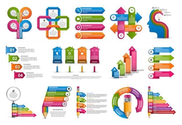 Elementos de infográficos de coleção Vetor Premium