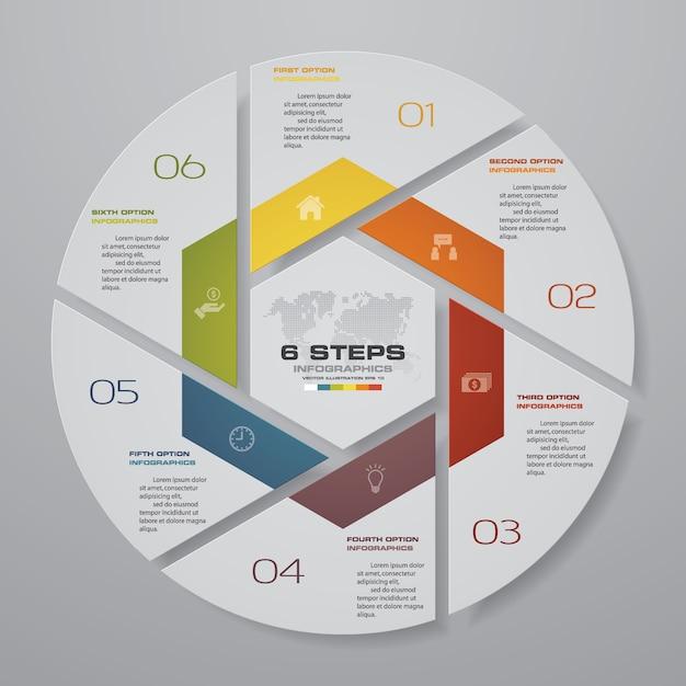 Elementos de infográficos de gráfico de ciclo de 6 etapas. Vetor Premium