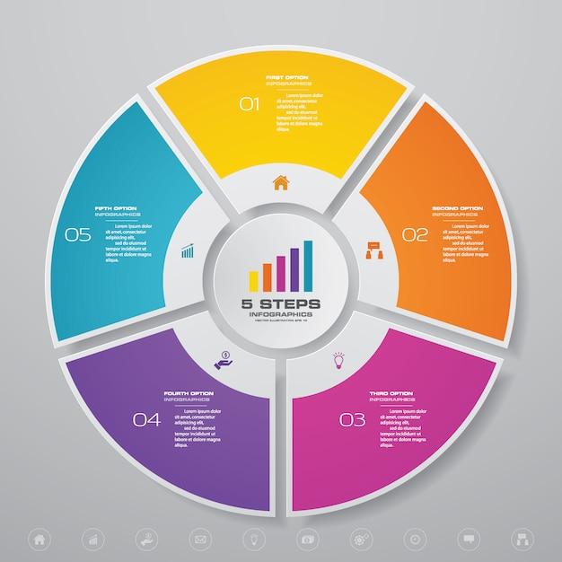 Elementos de infográficos de gráfico de ciclo para apresentação de dados. Vetor Premium