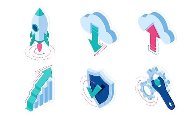 Elementos de infográficos de ícones isométricos para web site Vetor grátis